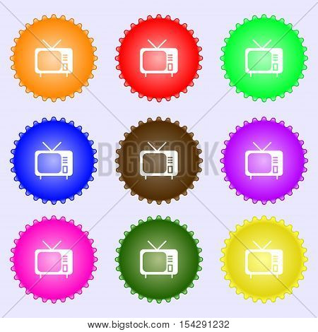 Tv Icon Sign. Big Set Of Colorful, Diverse, High-quality Buttons. Vector