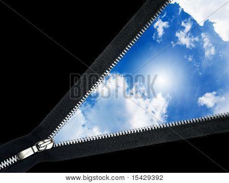 Zipper over blue sky