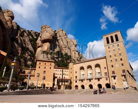 Santa Maria de Montserrat is a Benedictine abbey located on the mountain Montserrat near Barcelona Catalonia Spain