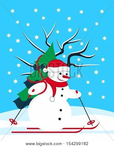 vector snowman skier carrying tree in snowy landscape