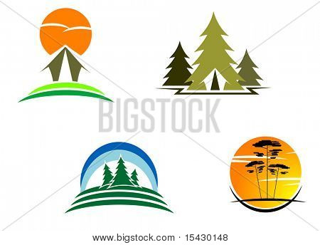 Vector version. Tourism symbols for design. Jpeg version also available
