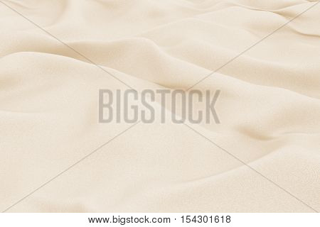 Beige fabric folds. Smooth drapes cloth decoration. 3d render