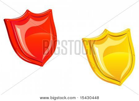 Vector. Glossy security shield isolated on white. Jpeg version also available