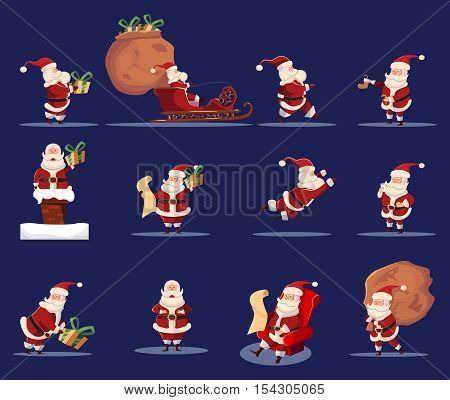 Flat isolated icons set with Santa Claus in traditional costume with Christmas holiday gifts sack blue background vector illustration