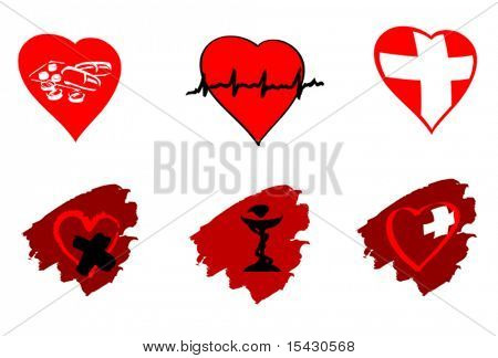 Vector version. Medicine icons and signs isolated on white. Jpeg version also available