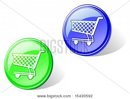 Vector version. Glossy shopping cart in two colors for web design. Jpeg version also available