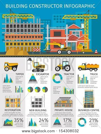Building constructor infographics with site on blue background machinery and facilities charts and statistics vector illustration