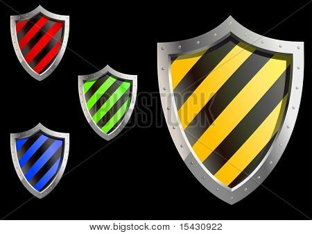 Jpeg version. Glossy security shields isolated on background for web design. Vector version is also available