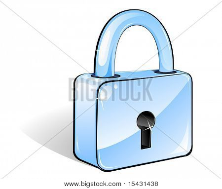Glossy lock icon for web design or security concept. Vector version is also available
