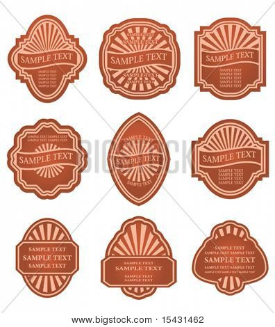 Vector version. Set of old brown labels for design food and beverages. Jpeg version is also available