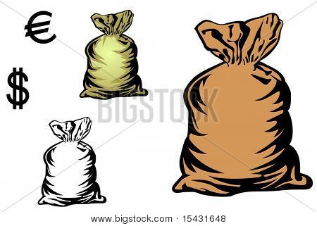 Jpeg version. Money bag in three variations with currency symbols for design. Vector  version is also available