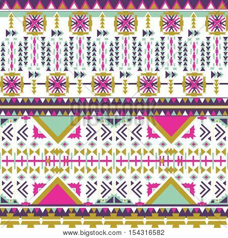 Colorful aztec seamless pattern on white background. Ethnic abstract geometric texture. Hand drawn navajo fabric. Aztec Pattern Tribal. Used for  web page background fabric paper .