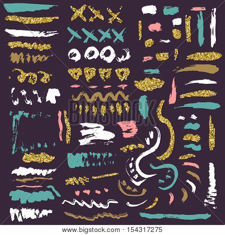 Vector set of colorful brush strokes and gold glittering texture. Hand drawn brush stroke vector design element. Modern Brush Texture.