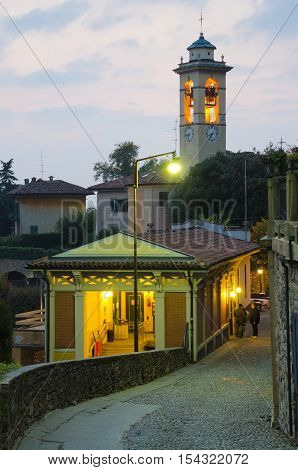BERGAMO, ITALY. 22nd OCTOBER 2016. The highest of Bergamo's two funiculars, the San Vigilio takes the city's ever-increasing volume of tourists up to the San Vigilio hill above the city.