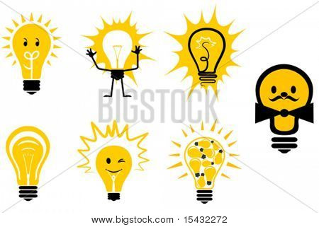 Set of light bulb symbols for design. Jpeg version also available