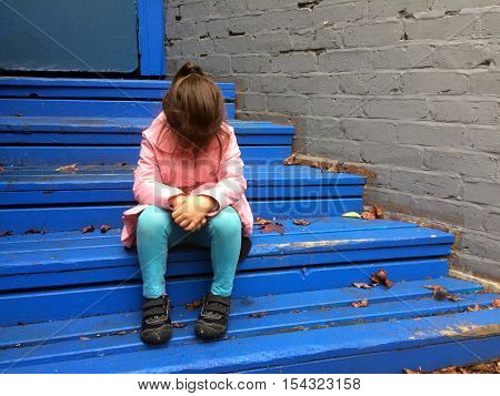 Lost Child Cries On Steps