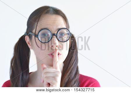 Geeky Woman Has A Secret Shushing