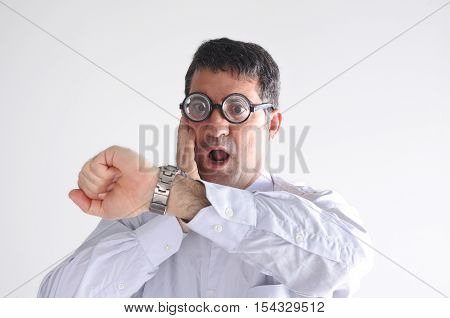 Surprised Late Man Watching The Time On His Watch
