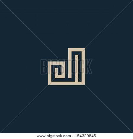 Unusual geometric letter J. Architecture vector logo. Isolated monogram
