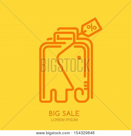 Vector Logo, Label Or Emblem Design Template With Linear Style Elephant Shopping Bag With Tag.