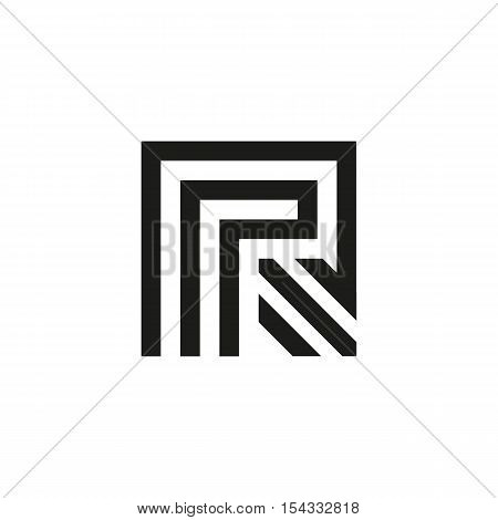 Unusual geometric letter R. Architecture vector logo. Isolated monogram