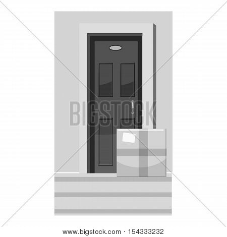 Shipping to door icon. Gray monochrome illustration of shipping to door vector icon for web
