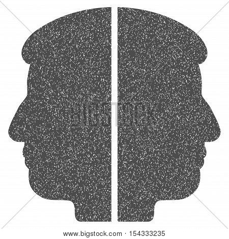 Dual Face grainy textured icon for overlay watermark stamps. Flat symbol with dust texture. Dotted vector gray ink rubber seal stamp with grunge design on a white background.