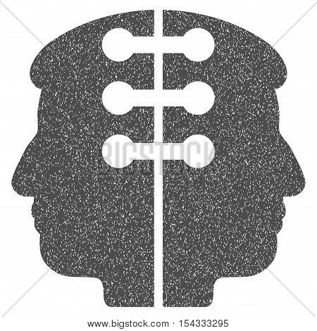 Dual Head Interface grainy textured icon for overlay watermark stamps. Flat symbol with dirty texture. Dotted vector gray ink rubber seal stamp with grunge design on a white background.