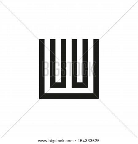 Unusual geometric letter W. Architecture vector logo. Isolated monogram