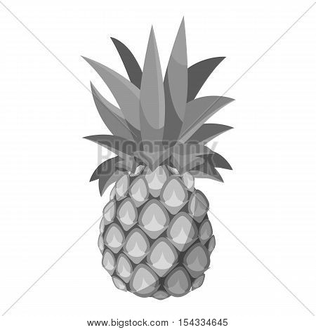 Pineapple icon. Gray monochrome illustration of pineapple vector icon for web