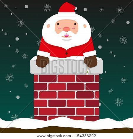 cute fat big Santa Claus come out of chimney on falling snow flake green background