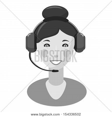 Woman consultant in headphones icon. Gray monochrome illustration of woman consultant in headphones vector icon for web