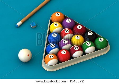 Billiard Set On Blue