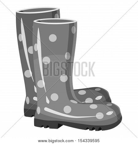 Rubber boots icon. Gray monochrome illustration of rubber boots vector icon for web