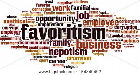 Favoritism word cloud concept. Vector illustration on white