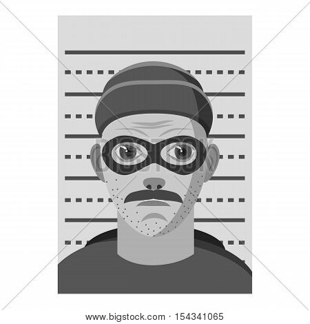 Man arrested icon. Gray monochrome illustration of man arrested vector icon for web