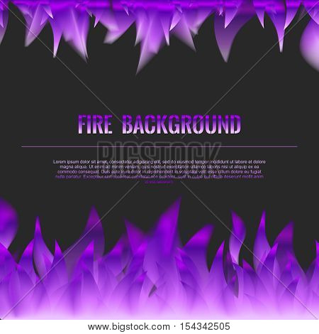 Vector Realistic Fire Flames Poster Banner Black Color Background, Purple Violet Flame