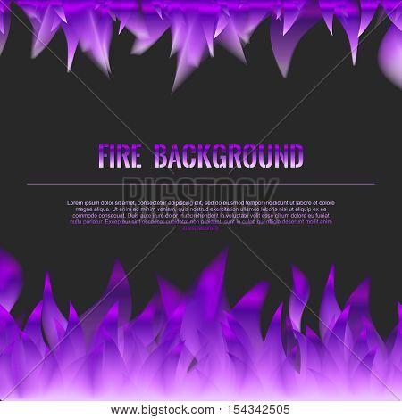 Vector Realistic Fire Flames Poster Banner Black Color Background, Purple Violet Flame