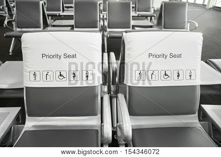 close up of priority seats in airport
