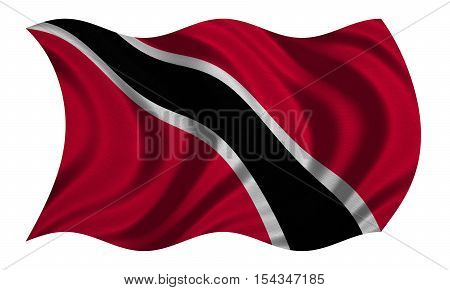 Trinidadian and Tobagonian national official flag. Patriotic symbol banner element background. Correct colors. Flag of Trinidad and Tobago wavy isolated on white fabric texture 3D illustration