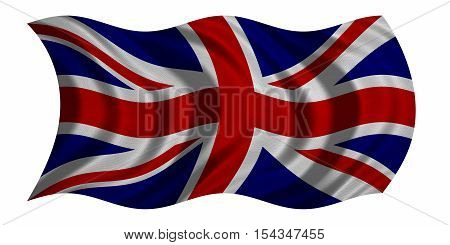 British national official flag. Patriotic UK symbol. Great Britain banner element background. Correct colors. Flag of the United Kingdom wavy isolated on white real fabric texture 3D illustration