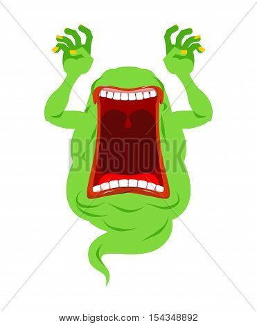 Scary Ghost Shouts. Horrible Wraith Frightening Screams. Green Monster With His Mouth Open. Spook Wi