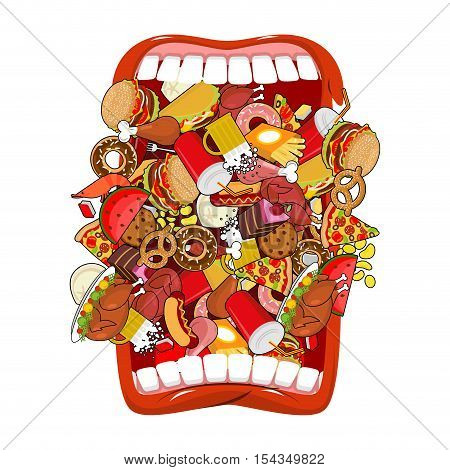 Open Mouth And Food. Absorption Of Feed. Eat Many Of Meal. Very Hungry. Pizza And Tacos. French Frie
