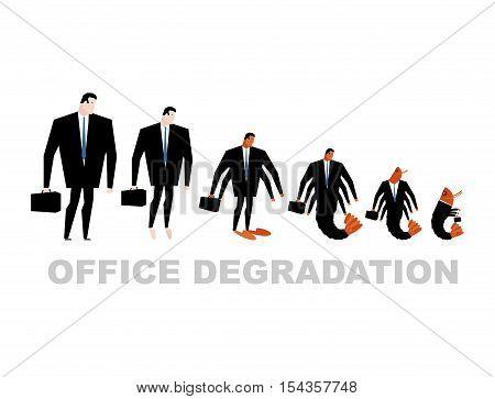 Office Degradation. Manager Turns Into Office Plankton. Man Transforms Into Shrimp. Marine Crustacea