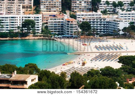 Beautiful view of Santa Ponsa beach with white sand and azure water Mallorca