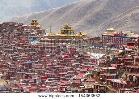 Top view monastery at Larung gar (Buddhist Academy) Sichuan China