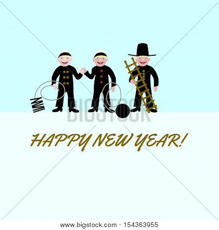 Three chimney sweeps, for good luck, with the inscription Happy New Year.