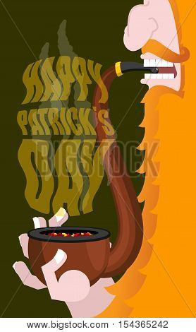 Happy Patricks Day. Leprechaun Smokes Pipe. Smoking Set Brier And Smoke, Embers. Red Beard. Open You