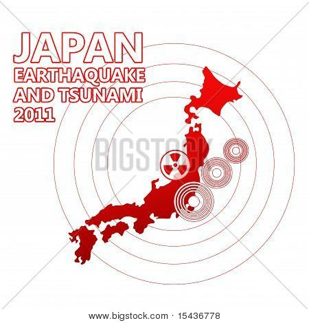Japan map and seismic epicenter