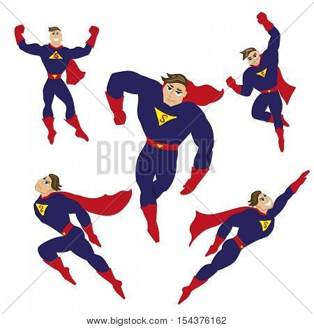 Set of superhero/superman in different poses. Flying man in costume of super hero, defender. Power, strength and justice concept. Vector illustration isolated on white background.
